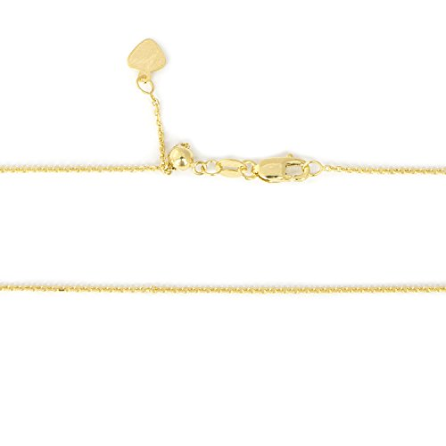 Beauniq Solid 14k Yellow Gold 1mm Adjustable Cable Chain Necklace, up to 30