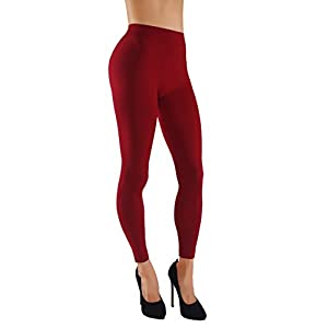 Vesi Star Women's Soft Basic Solid Assorted Color Leggings Wide Waistband Elastic (S/M/L usa 0-6, VS/LG02-RED)