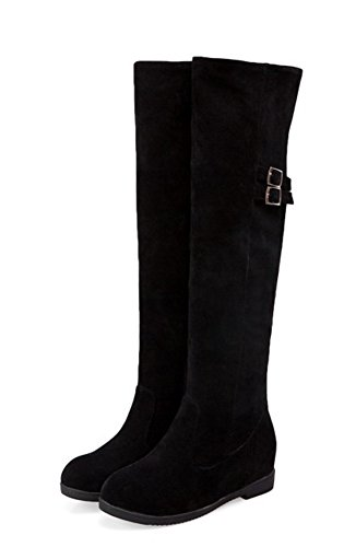 Aisun Women's Comfort Rider Round Toe Elevator Low Heels Buckle Strap Knee High Tall Boots Shoes