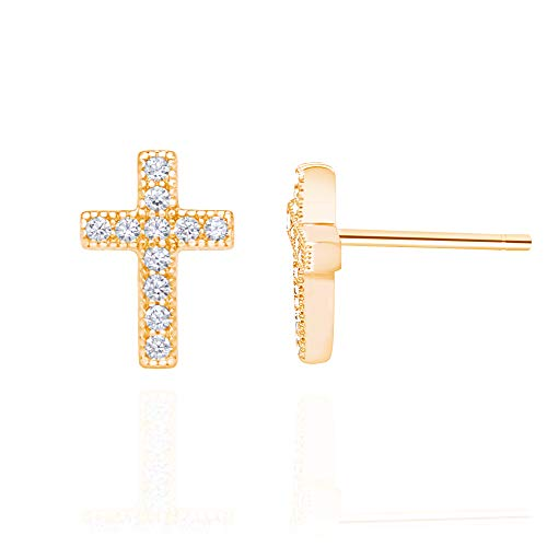 14k Rose Gold Plated 925 Sterling Silver Cubic Zirconia Classic Mini Cross Stud Earrings