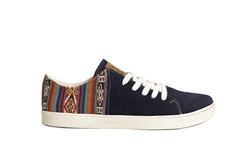 À Perús Bleu Fabriquées Main Artisanales Gamuzon Motifs Péruviens en Daim et À Traditionnels et Hommes Femmes Sneakers Chaussures Éthiques pour Marine La r8Rrnq