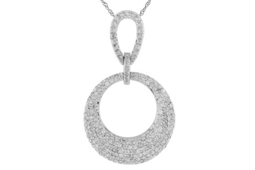 Milano Jewelers 1.10CT Diamond 14KT White Gold 3D Multi Row Circle of Life Journey Love Pendant