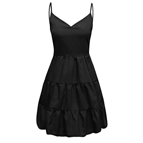WILLBE Womens Summer Dresses V Neck Sleeveless Spaghetti Strap Sundress Pleated Loose Swing Casual T Shirt Dr Black