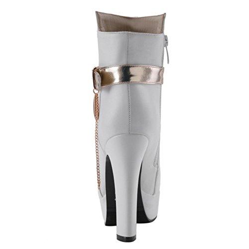 Zipper Stivali Donna Alto Blocco Elegante con White COOLCEPT Tacco Scarpe 8dvqxvwO