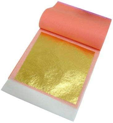 24 Karat Edible Gold Leaf by Slofoodgroup (25 Lightly Attached Sheets on Transfer Backing per Book) 3.15 in x 3.15in Soft Press Transfer Leaf Sheets