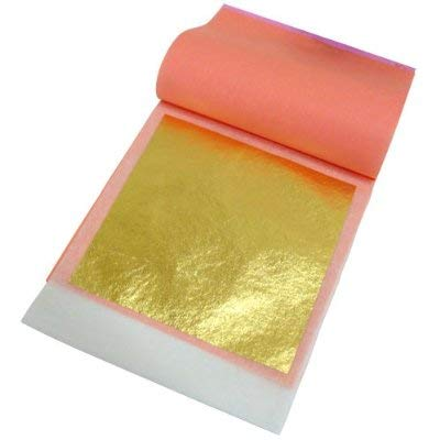 (24 Karat Edible Gold Leaf by Slofoodgroup (25 Lightly Attached Sheets on Transfer Backing per Book) 3.15 in x 3.15in Soft Press Transfer Leaf Sheets)