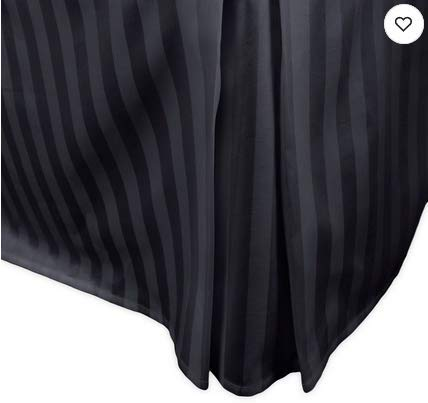 Damask Stripe 500 Thread Count Queen Bed Skirt in Navy (500 Thread Count Damask Stripe Bed Skirt)