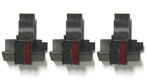 3 Pack - Compatible Seiko IR-40T Black/Red Ink Rollers, Works for Sharp EL1801P, Sharp EL1801PIII, Sharp EL2192, Sharp EL2620