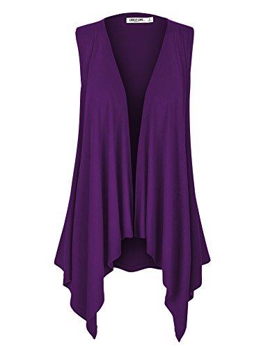 WSK1071 Womens Lightweight Sleeveless Draped Open Cardigan M - Purple Jersey Drapes