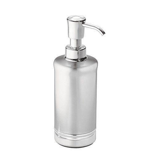 Large Product Image of mDesign 4-Piece Bathroom Vanity Stainless Steel and Chome Bath Accessories - Soap Dispenser, Toothbrush holder, Tumbler, Soap Dish - Split Finish