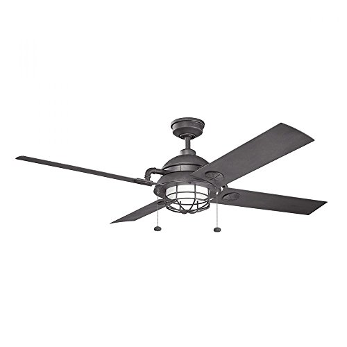 Distressed Black Maor 65in. Outdoor LED Ceiling Fan with 4 Blades - Includes Light Kit and 4 1/2in. Downrod