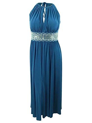 - R&M Richards Women's Plus Size Beaded Keyhole Long Jersey Dress (20W, Peacock)