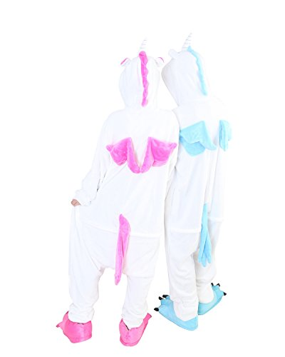Onesies Costume for Couples Jumpsuit Home Pajama Robe Flannel Unicorn (Hot Pink,m) (Couples Cosplay Costumes)