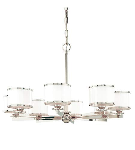 Hudson Valley 6118-PN, Basking Ridge Glass Chandelier Lighting, 8 Light, 600 Watts Xenon, Nickel