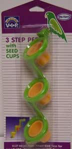 Vo-Toys Tri Level Perch with Seed Cups Bird Toy Assorted Colors