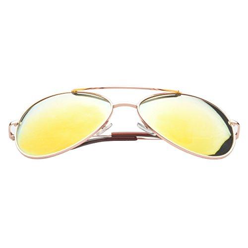 MLC Eyewear ® 'Berkeley' Aviator Fashion Sunglasses in Gold Frame Orange - Berkeley Eyewear