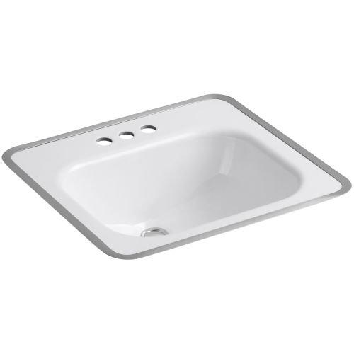 KOHLER K-2890-4-0 Tahoe Metal Frame Bathroom Sink, White - Metal Sink Frame