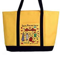 Lrg Image ((6 7/18) San Francisco Tote Lrg Bag Embroidered Subway Images Yellow Large)