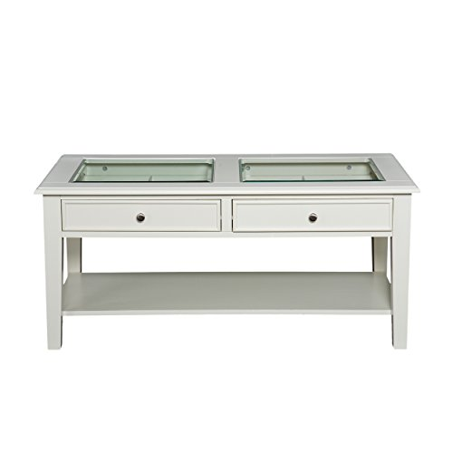 Panorama Cocktail Table - Open Display Glass Top w/ Store - Off White - Glass 42 Inch Top Square