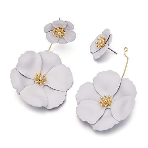 Metal Matte Dual Flower Petal Tiered Earrings Pierced Garden Party Drop Dangle Earrings For Women Blooming Flower Drop Earrings