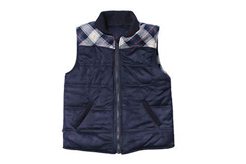 (Fore!! Axel & Hudson Boy Vest Navy Suede/Plaid Reversible Puff Vest (2))