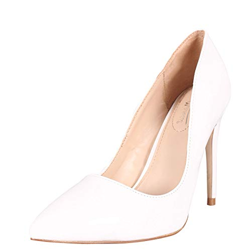Anne Michelle Womens Pointy Toe Classic Stiletto High Heel Slip On Pump Shoes 6.5 White Pat