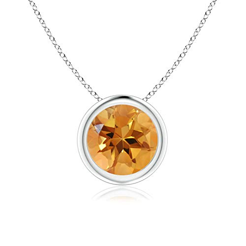 Citrine Pendant Set - Bezel Set Citrine Pendant Necklace in 14k White Gold (7mm), 18