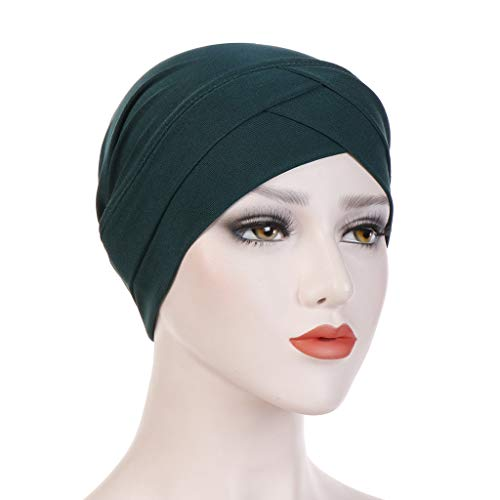 (Haluoo Fashion Ruffle Turban Hat Slip On Slinky Cap for Women Chemo Cancer Hair Loss Sleep Beanie Turbans Headband Stretchy Muslim Wrap Scraf Hat (Green))