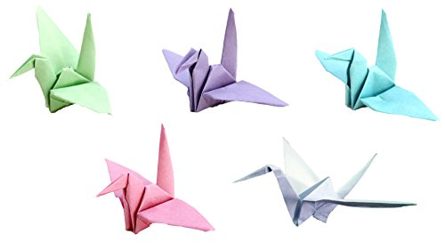 Japanese Origami Loose Cranes Pink Purple Blue Green Garl...