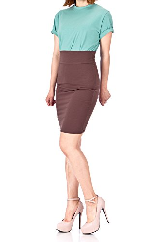 Dani's Choice Every Occasion Stretch Pull-on Wide High Waist Bodycon Pencil Knee Length Midi Skirt (M, Brown) by Dani's Choice