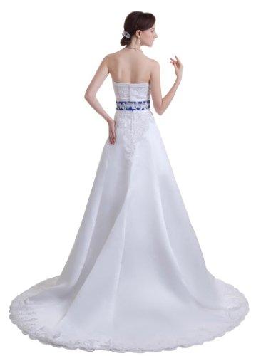 GEORGE BRIDE - Robe nuptiale ¨¦l¨¦gante sans bretelles perl¨¦e en satin avec reins bleus ¨¤ tra?ne Chapel - Taille 44 - Couleur Blanc