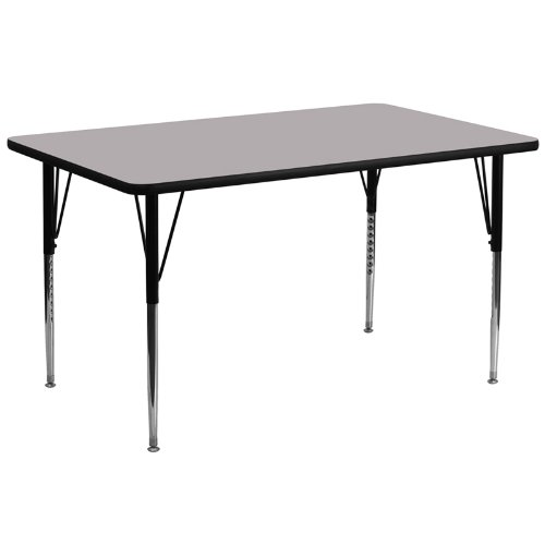 30''W x 72''L Rectangular Activity Table with Grey Thermal Fused Laminate Top and Standard Height Adjustable Legs [XU-A3072-REC-GY-T-A-GG]
