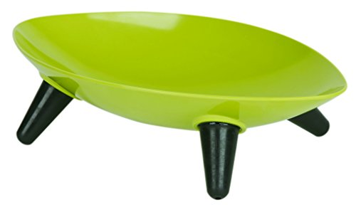 PET LIFE 'Couture Sculptured' Dishwasher Safe Melamine Fashion Designer Food or Water Pet Cat Dog Bowl Feeder Waterer, One Size, Olive Green