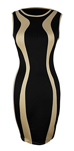 Peach Couture Bodycon Contrast Colored Sleeveless Mini Dress Black Tan M