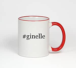 #ginelle - Funny Hashtag 11oz Red Handle Coffee Mug Cup
