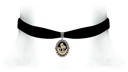 Victorian Vault Black Velvet Choker Unicorn Gothic Steampunk Pendant Necklace (Gothic Unicorn)