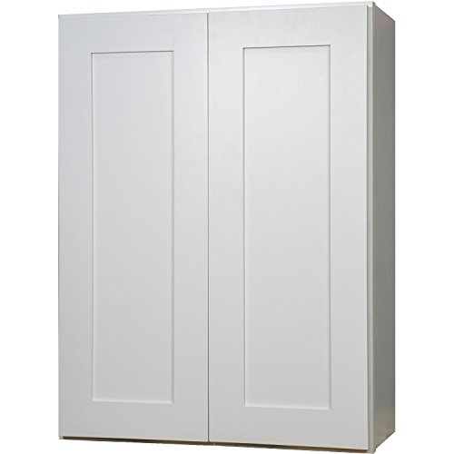 Everyday Cabinets 33 Inch Double Door Wall Cabinet in Shaker White with 2 Soft Close Doors & 2 Adjustable Shelves 33