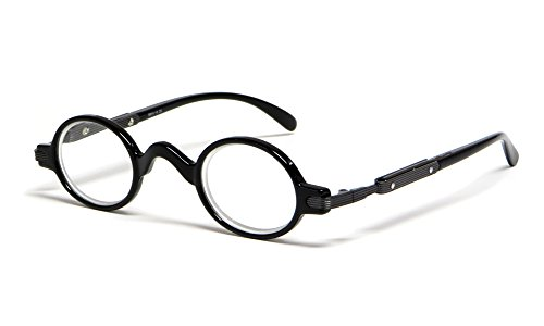 Calabria R314 Unisex Vintage Professor Oval Reading Glasses Incredibly Lightweight and Comfortable in Black +3.00