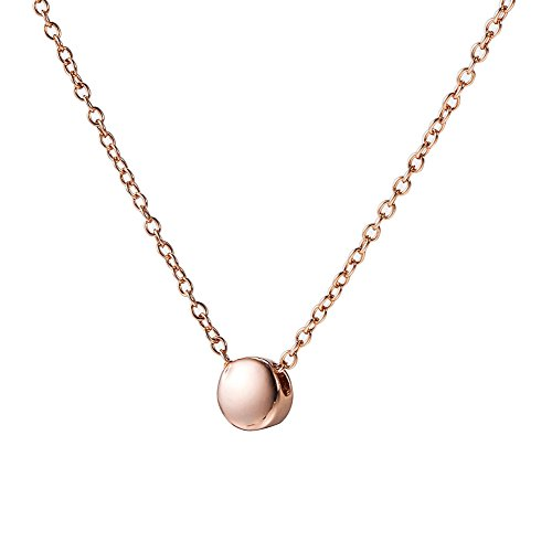 Bean Pendant - Nonnyl Small Golden Beans Necklaces Minimalism Tiny Dot Necklace Sterling Silver Ball Pendant Collar Necklace (Rose Gold)
