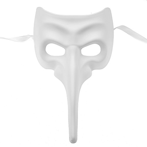 Venetian Bird Mask (ILOVEMASKS White Long Nose Bird Craft Mardi Gras Masqurade Venatian Mask Zanni Style)