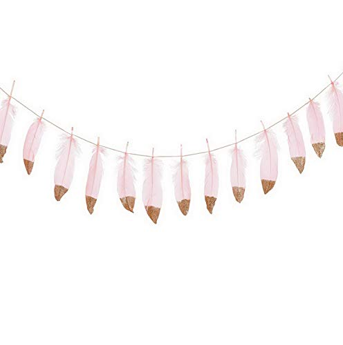 - Kaputar 10FT Rose Gold Glitter Dipped Pink Feather Banner Garland for Boho Bedroom Teepee Decorations, Boho Theme Bridal Shower Decor | Model WDDNG -1430 | 10 FT