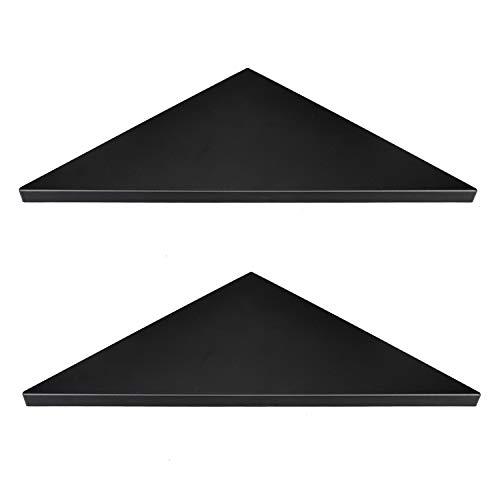 (Evron Corner Mounting Shelf,Easy to Install Wall Corner Shelf,Set of 2 (Black Frosting Pattern Right-Angled))