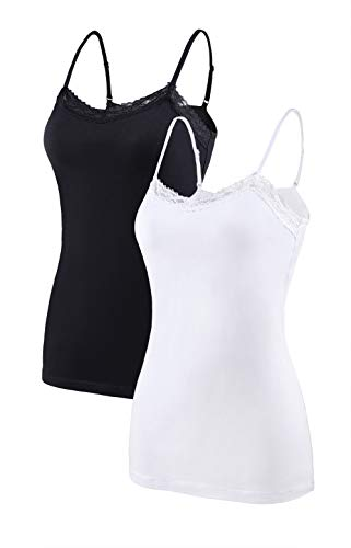 Vegatos Women Cotton Lace Trim Camisole Summer Tank Tops Pack of 2 Black/White L (Trim White Tank)