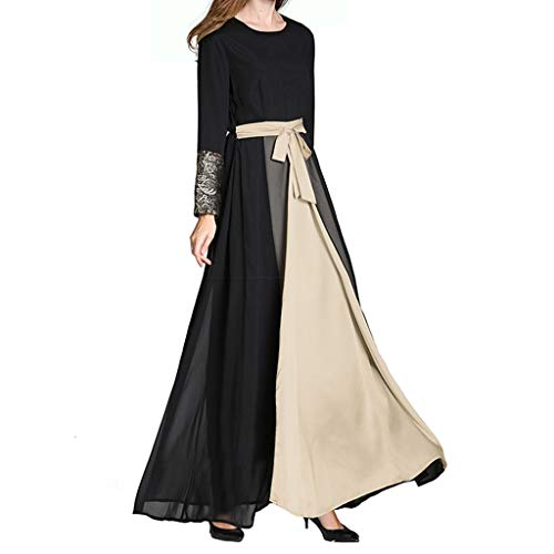 Women's Islamic Bow Belt Dress☪☪ Elegant Ladies Multilayer Sewing Black Muslin A-line Muslim Abaya