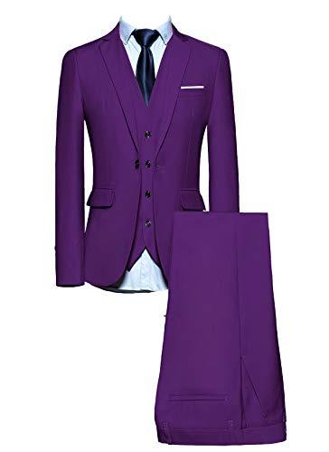 Purple Pinstripe Suit - MOGU Mens Suits Slim Fit 3 Piece US Size 30 Purple