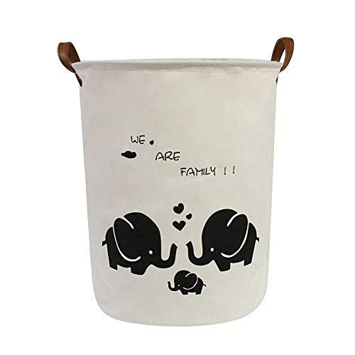 Large Storage Bin-Canvas Storage Basket-Round Basket with PU Leather Handles for Toys,Laundry,Baby Nursery(Elephant 4)