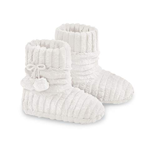 - Faux Fur Warm Slipper Booties with Fleece Lining and Stylish Plush Pom-Poms, Winter White, Large
