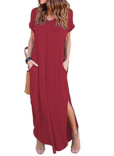 Arolina Women's Casual Maxi Dress with Pockets Plain Loose Short Sleeve T-Shirt Long Dresses Burgundy