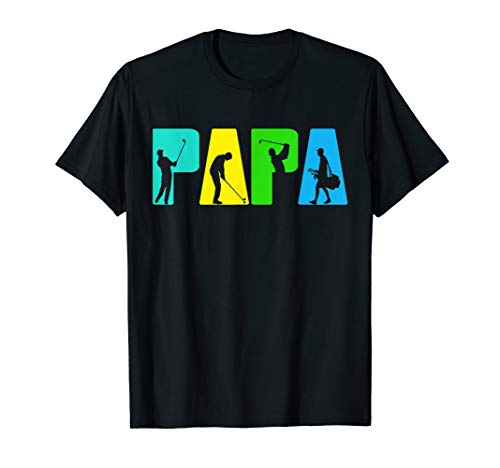Retro Golfing Papa Tee Shirt. Golf Gifts For Fathers - Shirt Dad Golf