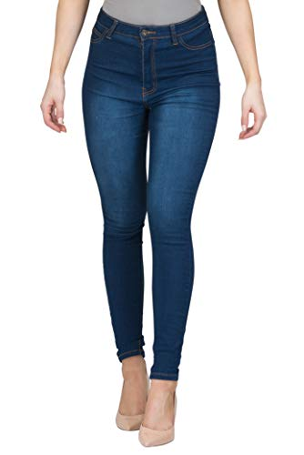 LOVER FASHION HIGH Waisted Denim Strench Skinny Colored Jeans (Indigo, S)